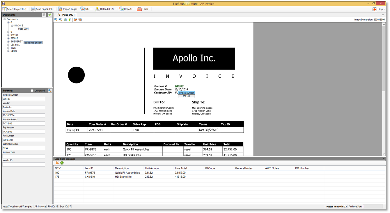 Filebound Screenshot Invoice