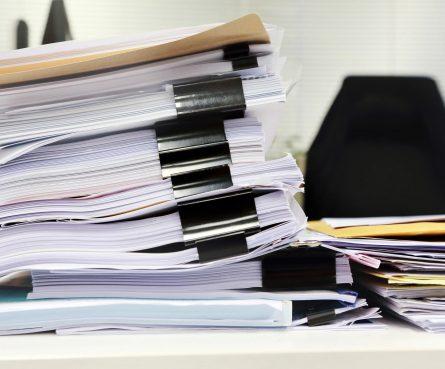messy files on desk